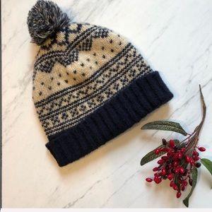 TOPSHOP Navy/Cream Nordic Pom Pom Boho Beanie Hat